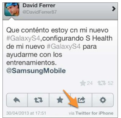 David Ferrer, twiteando sobre samsung con un iphone