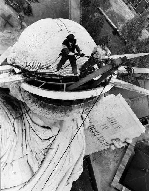 imágenes construcción de la Estatua de la Libertad