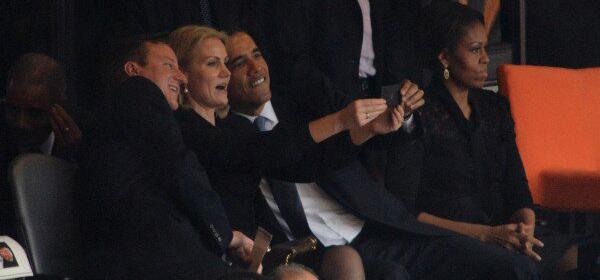 Barack Obama, David Cameron y la primera ministra deDinamarca, Helle Thorning Schmidt