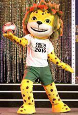 Zakumi, un leopardo de pelo verde con los colores de la selección de fútbol de Sudáfrica.