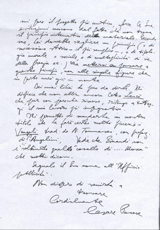 Carta manuscrita de Cesare Pavese al Padre Giuseppe Oddone. Archivo del Collegio Emiliani.