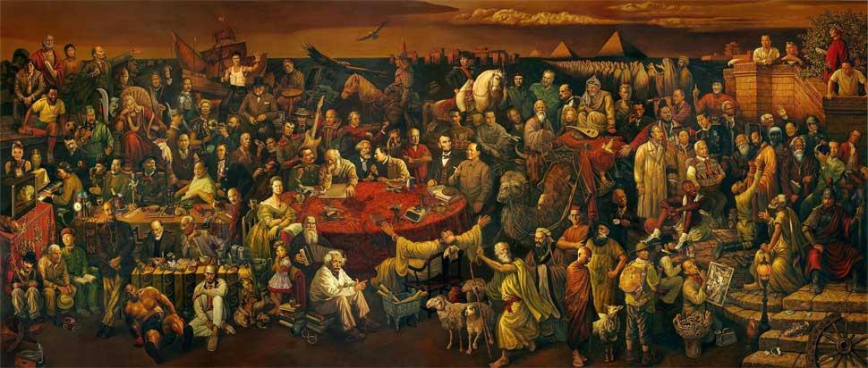 103 personajes de la Historia de la Humanidad en un Lienzo