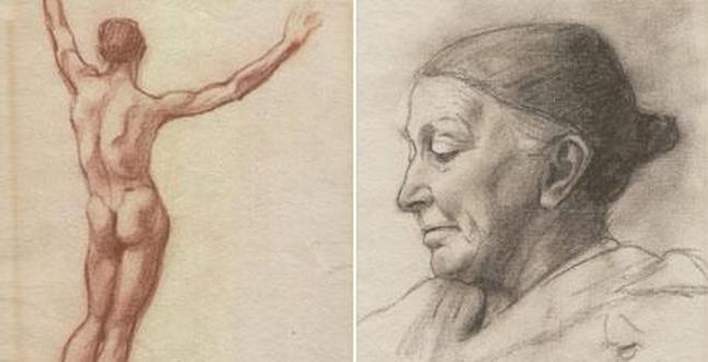 Two of the drawings that a young Adolf Hitler sent to the Vienna Academy of Art