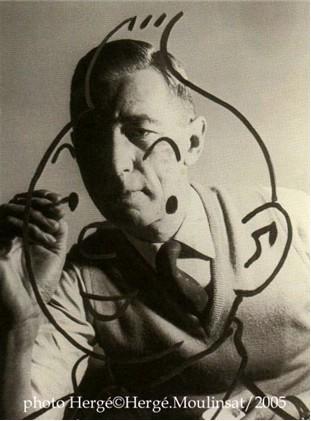 Hergé dibujando a Tintin
