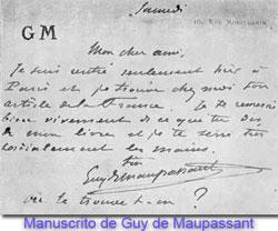 Manuscrito de Guy de Maupassant