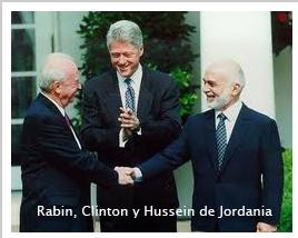 Rabin Clinton Hussein de Jordania