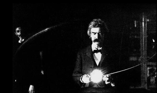 Mark Twain en el laboratorio de Nicola Tesla