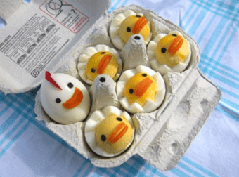 Obras artísticas cocinadas con huevo