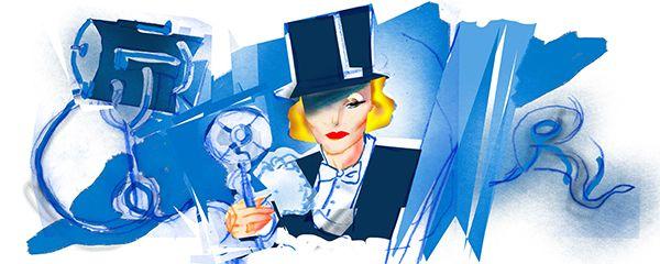 Marlene Dietrich ilustrada por la artista Sasha Steinberg