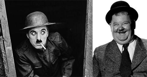 Los bigotes de Charlie Chaplin y Oliver Hardy