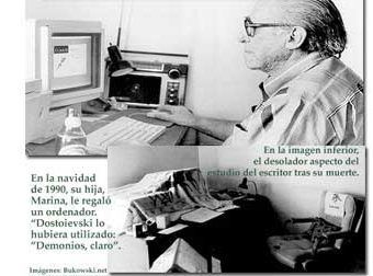 Bukowski frente al Mac en el que escribió durante sus últimos años