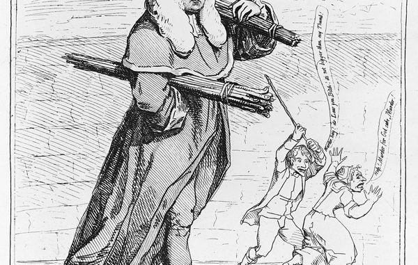 """Caricatura de James Gillray satirizando a Sir Francis Buller, 1782: """"Judge Thumb; o, la patente de pegar a la mujer para la corrección familiar: garantizada legalmente""""."""