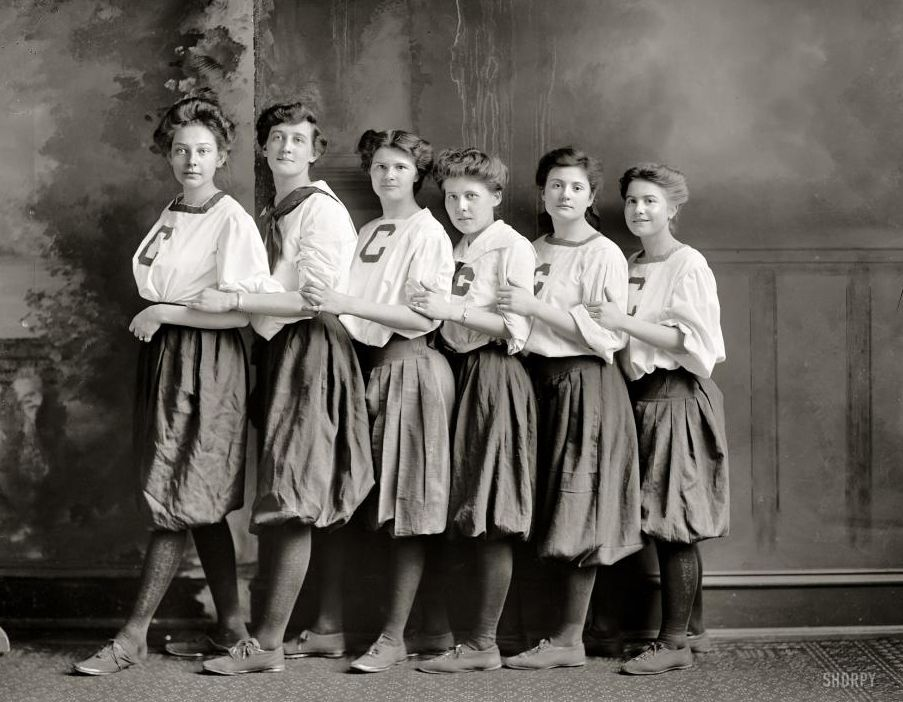 "Washington, D.C., circa 1910. ""Girls' basketball."