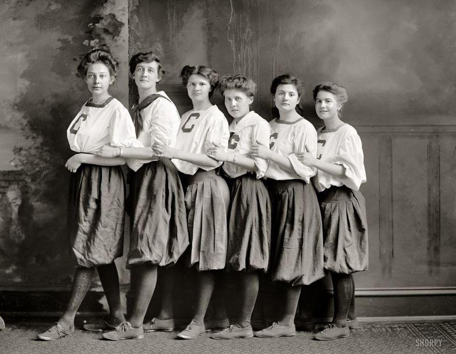 """Washington, D.C., circa 1910. """"Girls' basketball."""