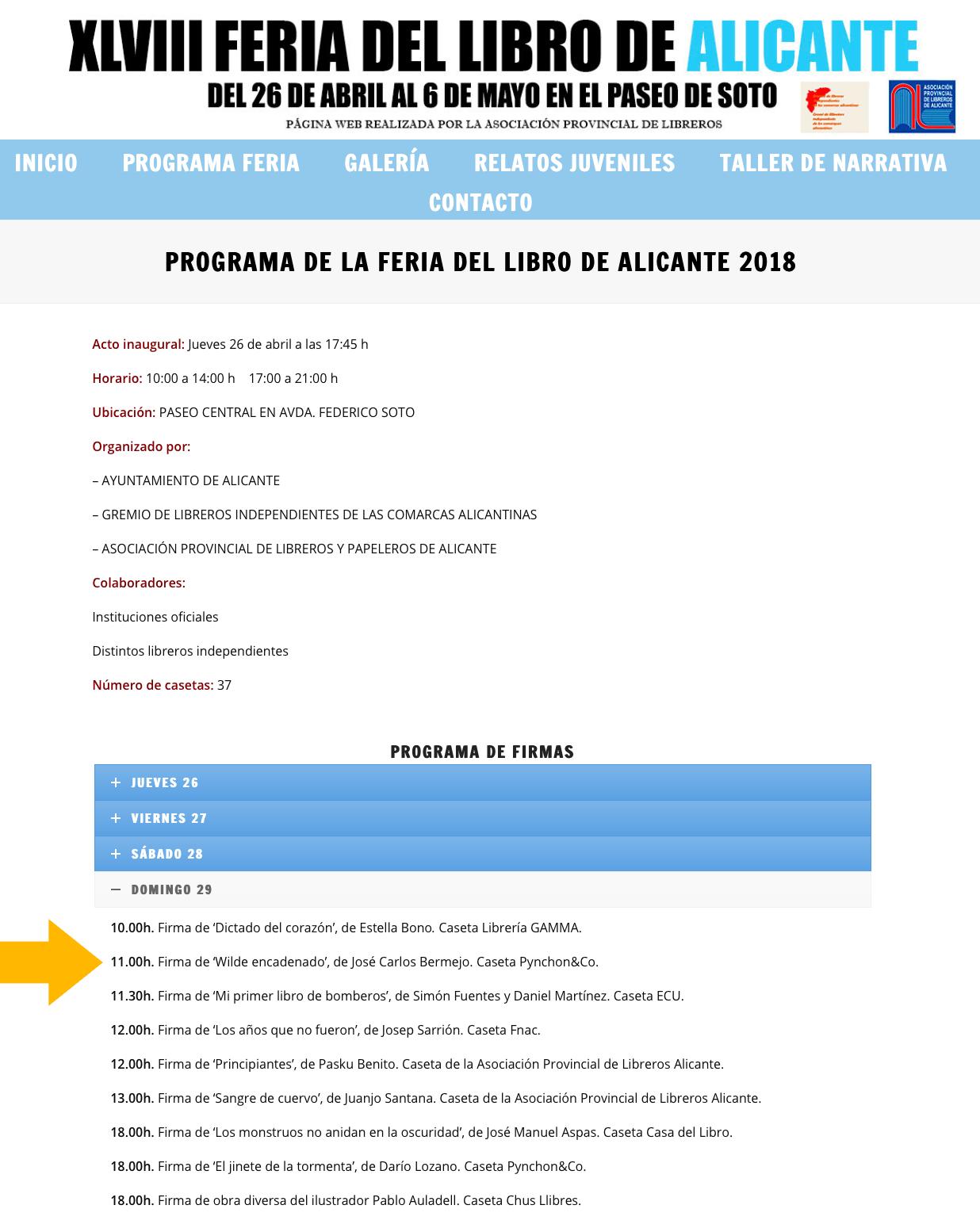 Feria del Libro de Alicante 2018