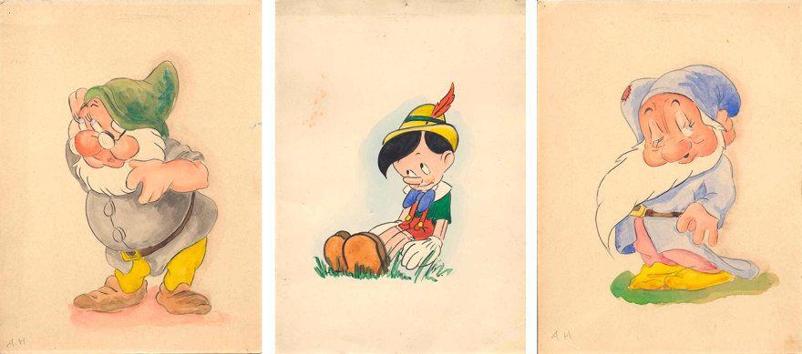 Hitler dibujando a los siete enanitos y pinocho