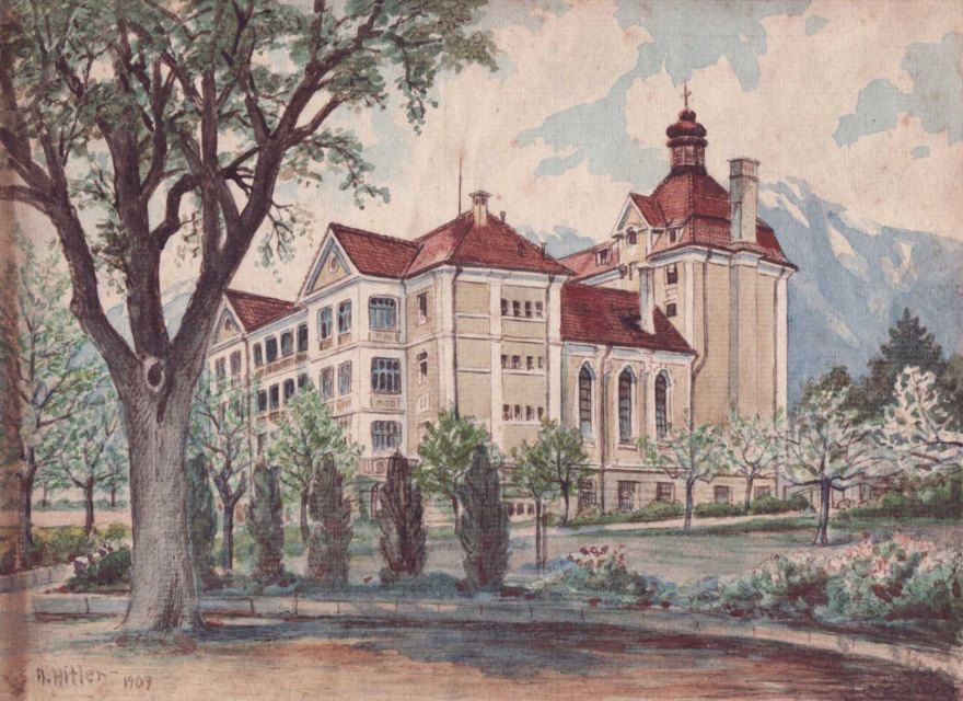 Viejo edificio entre árboles. 1909