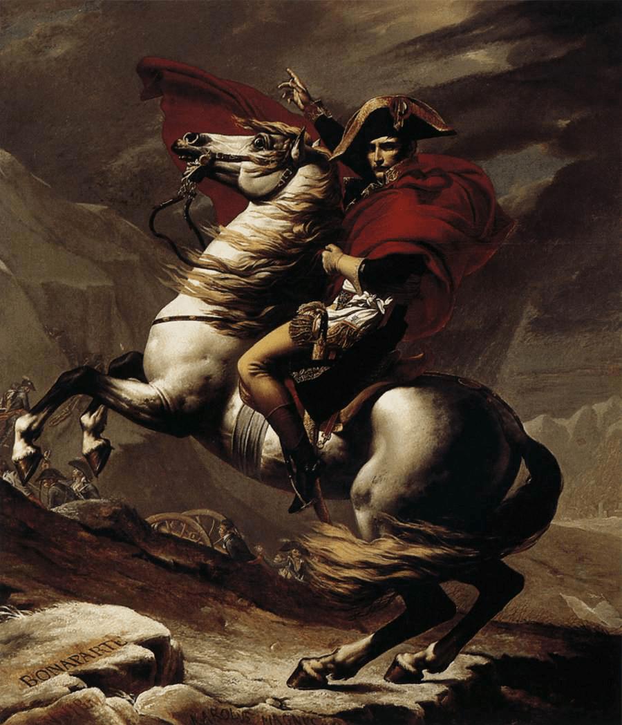 Napoleón cruzando los Alpes. Primera Versión