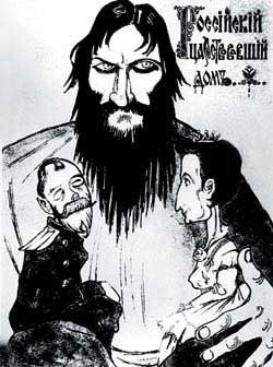 caricatura del Emperador Nicolas II, Tsaritsa Alexandra Feodorovna, y Grigory Rasputin
