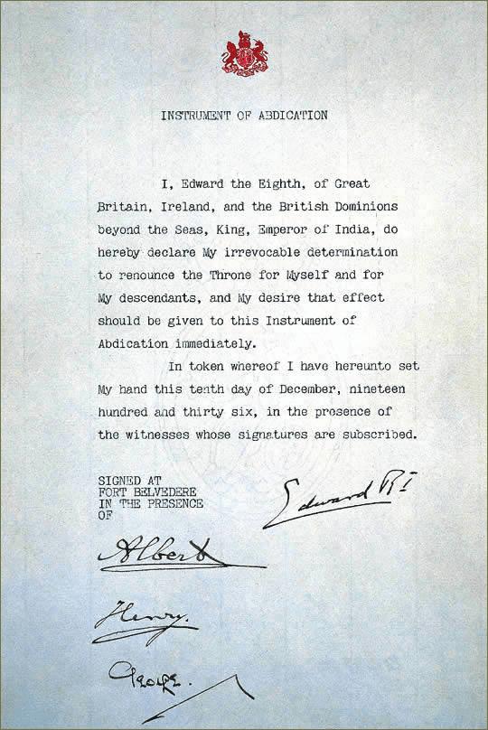 carta de abdicación del rey Eduardo VIII