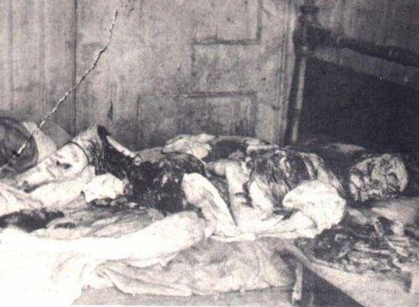 fotografía policial de la escena del asesinato de Mary Jane Kelly, la quinta víctima de Jack el Destripador. 9 de noviembre de 1888.