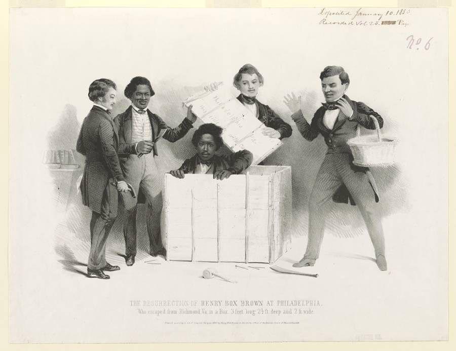 Litografía representativa de la llegada de Henry Brown ganando su libertad