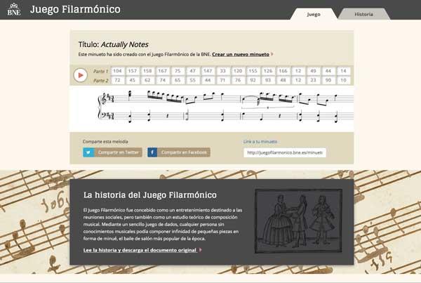 Juego Filarmonico, minueto compuesto desde la BNE