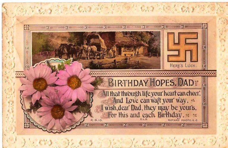 tarjeta de cumpleaños con la svastica