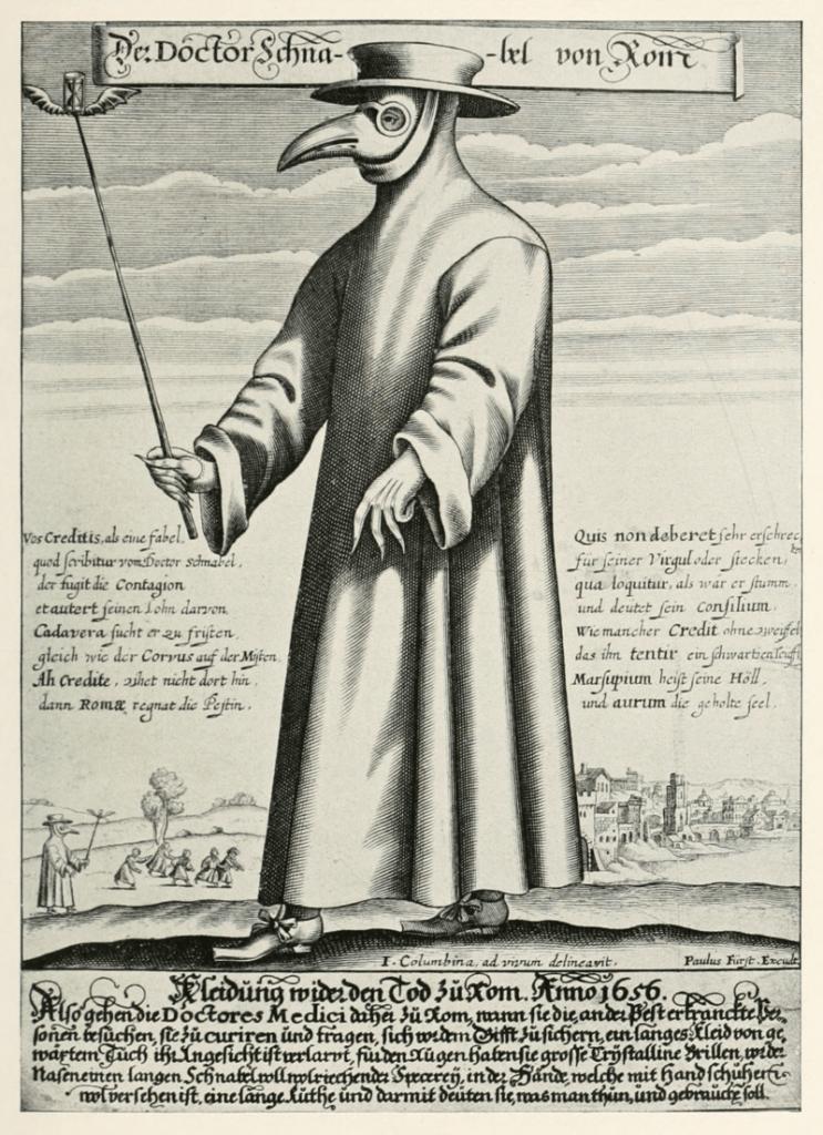 Paul Fürst, grabado de un médico de la plaga de Marsella. 1721.