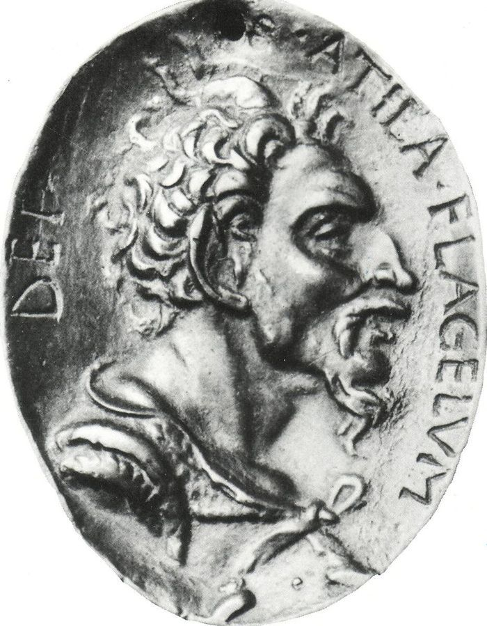 """Atila. Medalla con el lema """"azote de dios"""""""