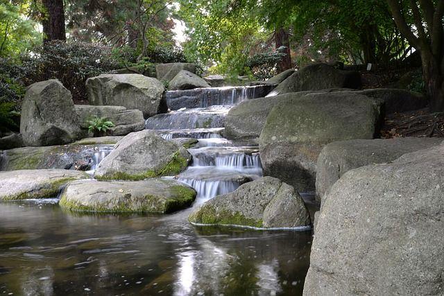 jardin japones con rocas y agua