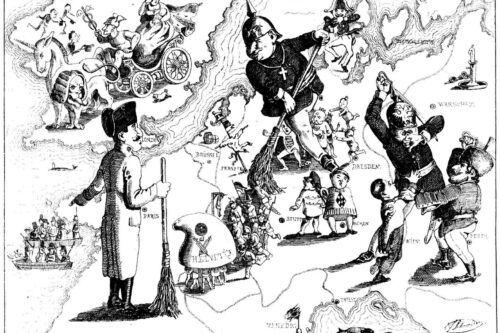 Una caricatura de la derrota de las revoluciones de 1848 en Europa por Ferdinand Schröder (publicada en Düsseldorfer Monatshefte, agosto de 1849)